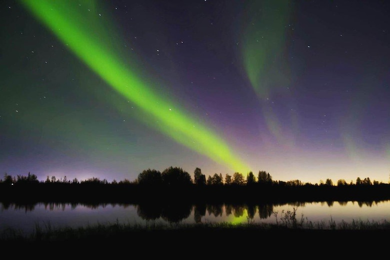 U.S. Air Force Senior Airman Sadie Lambert, a 354th Contracting Squadron contract specialist, took this photo of the aurora borealis near Mullins Pit on Eielson Air Force Base, Alaska. Lambert tinkers with photography on her down time. (Courtesy photo)
