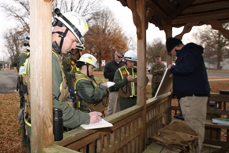 NAVAL SUPPORT FACILITY DAHLGREN, Va. – Marines and Sailors with Chemical Biological Incident Response Force, CBIRF, conducted an Initial Reaction Force B certification exercise, CERTEX, aboard Naval Support Facility Dahlgren, Va., Dec. 13, 2016. This CERTEX evaluated all sections composing the IRF including identification and detection, technical rescue, decontamination, search and rescue/casualty extraction, medical, explosive ordnance disposal, as well as command and control.  (Official U.S. Marine Corps photo by Lance Cpl. Maverick  Mejia/RELEASED)