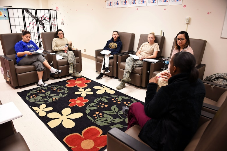 Expectant mothers receiving care at the 59th Medical Wing's Women's Health Clinic attend a Mom Strong session at the Wilford Hall Ambulatory Surgical Center, Joint Base San Antonio-Lackland, Texas, Dec. 1, 2016. Considered one of the wing's specialty care clinics, the clinic offers a wide-range of obstetrical and gynecological services and is open to all women regardless of pregnancy status or age. (U.S. Air Force photo/Staff Sgt. Jerilyn Quintanilla)