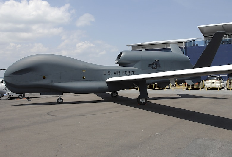 The RQ-4A Global Hawk, manufactured by Northrup Grumman, is seen here on the flightline at Edwards Air Force. (U.S. Air Force photo)