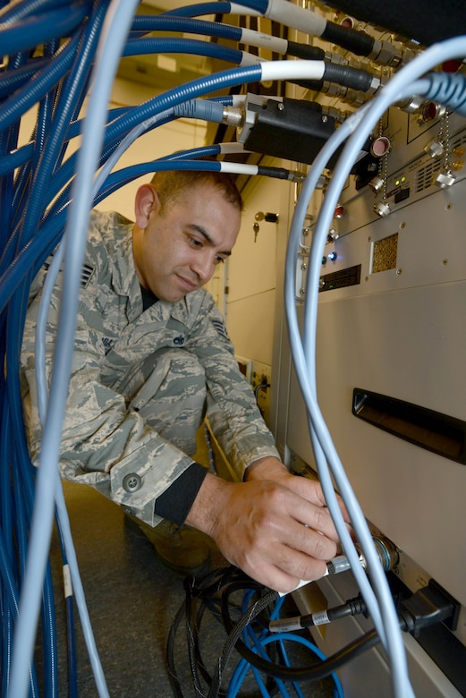 Staff Sgt. Armando Largaespada, an avionics logistics manager assigned to the 28th Maintenance Squadron, works on the new Advanced Radar Electronic Warfare Test Station (ARTS) at Ellsworth Air Force Base, S.D., Dec. 9, 2016. The ARTS allow maintainers to be more agile and flexible in the workshop, using less power, generating less heat and is less than half the size of the older Radar Electronic Warfare stations. (U.S. Air Force photo by Airman 1st Class Donald C. Knechtel)