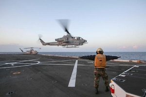 An AH-1W Super Cobra from the 22nd Marine Expeditionary Unit lands aboard the amphibious transport dock ship USS San Antonio in the Mediterranean Sea, Nov. 18, 2016. The 22nd MEU conducted precision airstrikes in support of the Libyan Government of National Accord-aligned forces against the Islamic State of Iraq and the Levant targets in Sirte, Libya, as part of Operation Odyssey Lightning. Marine Corps photo by Sgt. Ryan Young