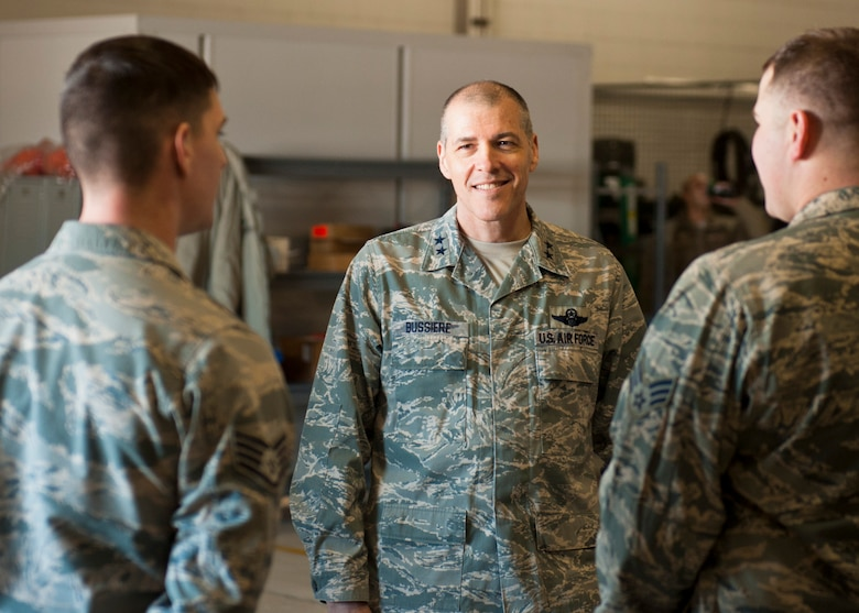 Maj. Gen. Thomas Bussiere, 8th Air Force commander, speaks with 5th Logistics Readiness Squadron Airmen in the Defender Dome at Minot Air Force Base, N.D., Dec. 14, 2016. Bussiere toured Minot's facilities and spoke with 5th Bomb Wing Airmen. (U.S. Air Force photo/Airman 1st Class J.T. Armstrong)