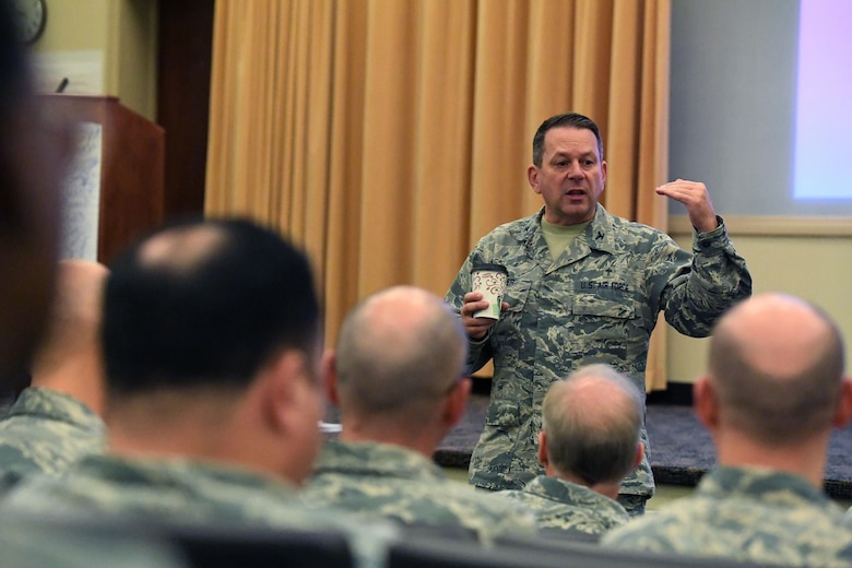 Chaplain (Col.) Timothy Butler, Air Combat Command Chaplain, speaks to chaplains from across the command at an ACC Chaplain Corps Leadership Development Symposium Dec. 8, 2016. The idea for the symposium formed when the command chaplains and their assistants from each of three MAJCOMs involved – USAFE, AETC and ACC – discovered they were all contemplating the same idea: how to improve leadership within the chaplain corps. (U.S. Air Force photo by Staff Sgt. Nick Wilson)