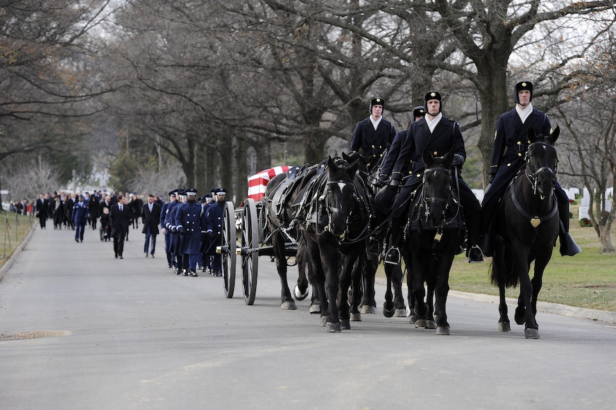 Maj. Troy Gilbert is carried by caisson during his final interment at Arlington National Cemetery, Va., Dec. 19, 2016. Gilbert was killed Nov. 27, 2006, while flying a mission in direct support of coalition ground combat operations when his F-16C Fighting Falcon crashed approximately 20 miles northwest of Baghdad. This was the third interment for the Airman at Arlington since 2006, and reunited remains recovered this year with partial remains originally recovered in 2006 and 2012. (U.S. Air Force photo/Staff Sgt. Jannelle McRae)