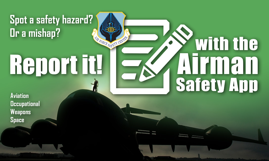 Mishap reporting is about to get easier with a new web-based reporting application from the Air Force Safety Center. The Airman Safety App will be accessible anytime, anywhere and on almost any device – desktop, laptop, tablet or smart phone and includes an interface that walks the user through a series of short and readily understood questions to easily report a hazard or mishap. (U.S. Air Force illustration by Keith Wright)
