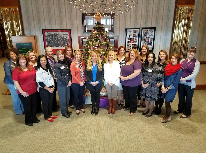 Members of the Team Charleston Key Spouses Club and Navy Ombudsman host a luncheon for Wendy Bence and Lisa Williams at the Charleston Club here, Dec. 15, 2016. While at Joint Base Charleston, Bence and Williams toured Team Charleston's facilities to get a first-hand look at joint operations.