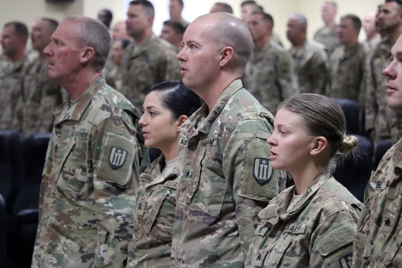 Soldiers recite the Non-Commissioned Officer Creed as part the 368th Engineer Battalion's NCO Induction Ceremony held at Camp Arifjan, Kuwait, Nov. 29, 2016.  The ceremony consisted of approximately 106 Soldiers from 312th Eng. Co, 389th Eng. Co., 461st Eng. Co, 475th Eng. Co., Headquarters and Headquarters Co. and Forward Support Co. of 368th Eng. Bn.  (U.S. Army photo by Capt. Maria Mengrone/Released)