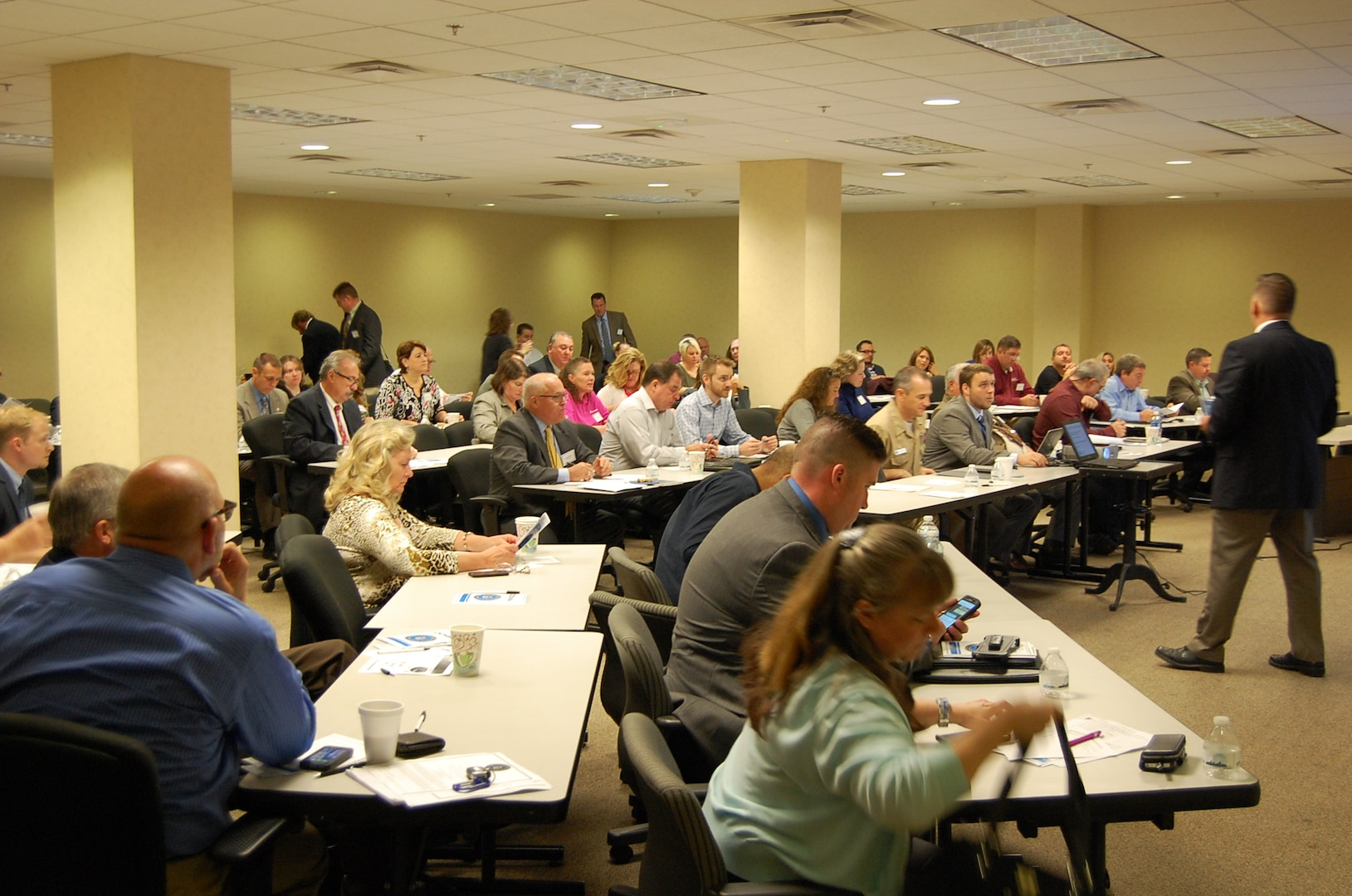 Defense Contract Management Agency Pittsburgh hosted its first defense contractor town hall at the William S. Moorhead federal building Oct. 18. Approximately 80 people attended the event. (Photo courtesy of DCMA Pittsburgh)