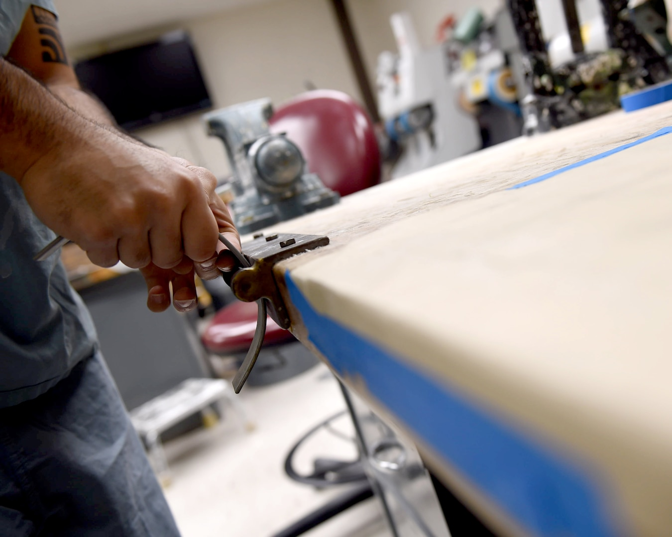 Staff Sgt. Kenneth Rivera, a student in the orthotics program, bends metal for a leg brace at the Wilford Hall Ambulatory Surgical Center, Joint Base San Antonio-Lackland, Texas, Oct. 19, 2016.(U.S. Air Force photo/Staff Sgt. Jerilyn Quintanilla)