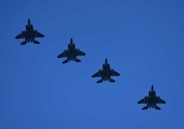 Four U.S. Air Force F-15E Strike Eagles from the 336th Fighter Wing, Mountain Home Air Force Base, Idaho, fly in formation during Checkered Flag 17-1 at Tyndall Air Force Base, Fla., Dec. 16, 2016. More than 300 Airmen from Mountain Home AFB deployed along with 16 F-15Es to participate in the large-force exercise, integrating with other fourth-generation aircraft as well as the F-22 Raptor and the F-35 Lightning II. (U.S. Air Force photo by Staff Sergeant Alex Fox Echols III/Released)