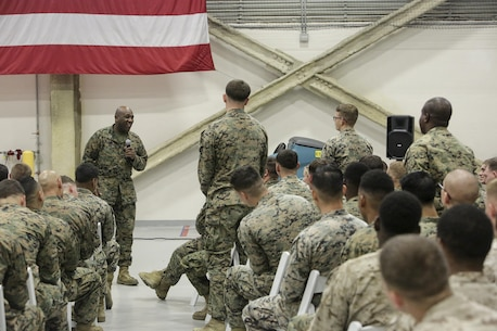 Sergeant Major Ronald L. Green, the sergeant major of the Marine Corps speaks to Marines at Naval Air Station Sigonella, Italy, Dec. 20, 2016. Sgt. Maj. Green and Gen. Robert Neller, the commandant of the Marine Corps, stopped by to visit the Marines of Special Purpose Marine Air-Ground Task Force Crisis Response-Africa during a trip to spend time with troops during the holiday season.  (U.S. Marine Corps photo by Cpl. Alexander Mitchell/released)