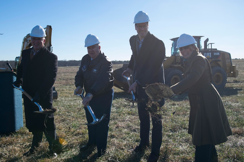 Assistant Secretary of the Air Force for Installations, Environment and Energy Miranda A.A. Ballentine break ground at a new solar site with Adjutant General of New Jersey Brig. Gen. Michael Cunniff and local business leaders at Joint Base McGuire-Dix-Lakehurst, N.J. Dec. 21. The 16.5 megawatt solar energy project will be the largest military solar installation in the Northeast and will include more than 50,000 solar panels when it's completed in 2017.