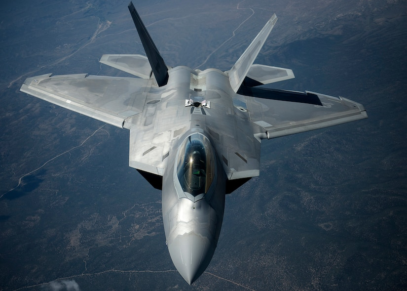 An Air Force F-22 Raptor aircraft assigned to Langley Air Force Base transits after refueling during exercise Red Flag at Nellis Air Force Base, Nev., July 18, 2016. This iteration of Red Flag specifically focused on multi-domain operations in air, space and cyberspace -- one of the future-war challenges areas that spurred the department to launch the recent Operational Challenges Crowdsourcing Initiative. Air Force photo by Tech. Sgt. David Salanitri