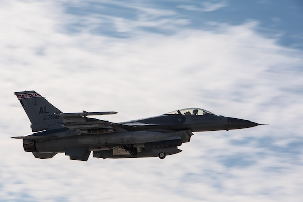 An F-16 Fighting Falcon deployed with the 134th Expeditionary Fighter Squadron takes off for a combat mission from the 407th Air Expeditionary Group, Southwest Asia, Dec. 13, 2016. The unit was able to fly combat operations within 15 hours of arriving at the deployed location. (U.S. Air Force photo/Master Sgt. Benjamin Wilson)(Released)