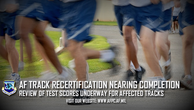 Airmen who tested on physical fitness assessments measuring short will retain their fitness score for the aerobic portion. An adjustment to the aerobic score will occur for Airman who tested on PFAs that were too long. Officials from all bases impacted are working with the Air Force Personnel Center to contact affected Airmen and provide avenues for remedy. (U.S. Air Force graphic by Rob Lyon)