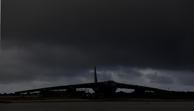 A U.S. Air Force B-52 Stratofortress from Minot Air Force Base, North Dakota, sits on the flightline in preparation for takeoff at Andersen Air Force Base, Guam, Dec. 17, 2016. Three B-52s were deployed to Andersen to conduct local training sorties in the U.S. Pacific Command's area of responsibility. (U.S. Air Force photo by Staff Sgt. Benjamin Gonsier/Released)
