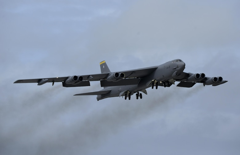 A U.S. Air Force B-52 Stratofortress takes off from Andersen Air Force Base, Guam, after a short deployment Dec. 17, 2016. This short-term deployment helped ensure the bomber crews maintain a high state of readiness and crew proficiency, and provided opportunities to integrate capabilities with regional partners in the Indo-Asia-Pacific region. (U.S. Air Force photo by Staff Sgt. Benjamin Gonsier/Released)