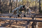Soldiers participating in the Rubicon Command Team Challenge with the 193rd Infantry Brigade at Fort Jackson, S.C., tackle the six vaults obstacle, Dec. 9. The Rubicon Command Team Challenge was designed to exercise the leadership and combat skills for the company command teams within the 193rd Infantry Brigade, while at the same time building esprit de corps among the different teams. The challenge was held Dec. 8-9, 2016 at Fort Jackson, S.C.  (U.S. Army Reserve photo by Sgt. 1st Class Brian Hamilton/ released)