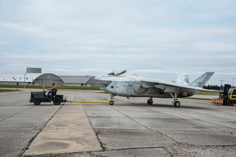 DAYTON, Ohio -- The Boeing X-32A being towed to a restoration building at the National Museum of the U.S. Air Force on Nov. 20, 2016. (U.S. Air Force photo by Ken LaRock)