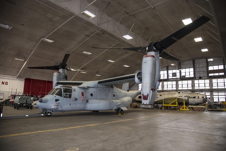 DAYTON, Ohio -- The Bell-Boeing CV-22B Osprey on display in a restoration building at the National Museum of the U.S. Air Force on Nov. 20, 2016. (U.S. Air Force photo by Ken LaRock)