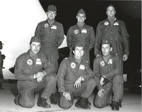 Capt. Peter Giroux, a B-52 pilot, top left, poses for a photo with his flight crew 1972 at March Air Force Base. The crew departed Utapao Airbase, Thailand, on December 22, 1972, for a mission supporting Operation Linebacker II. During the mission their aircraft was shot down and the crew was forced to eject over enemy territory. (U.S. Air Force photo)