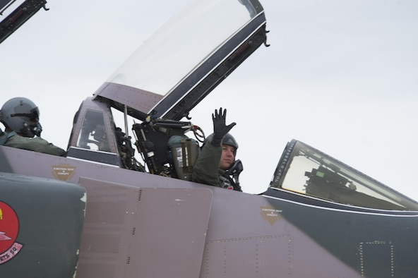 Lt. Col. Ronald King, 82 Aerial Target Squadron Det 1, waves goodbye before taking off during the QF-4 Phinal Phlight event Dec. 21, 2016 at Holloman Air Force Base, N.M. Hundreds of people were in attendance to commemorate the aircraft's retirement, marking the end of the aircraft's 53 years of service to the Air Force. (Master Sgt. Matthew McGovern)