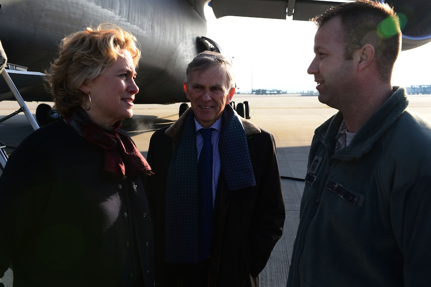 David McKean, middle, U.S. Ambassador to Luxembourg, and his wife Kathleen Kaye, left, talk to Chief Master Sgt. Edwin Ludwigsen, right, 52nd Fighter Wing command chief, on the flightline at Spangdahlem Air Base, Germany, Dec. 20, 2016. This was McKean's first visit to the base as he was briefed by leadership about the Saber Nation mission and different capabilities of the base during his tour. McKean was sworn in as Ambassaor in March 2016. (U.S. Air Force photo by Senior Airman Joshua R. M. Dewberry)