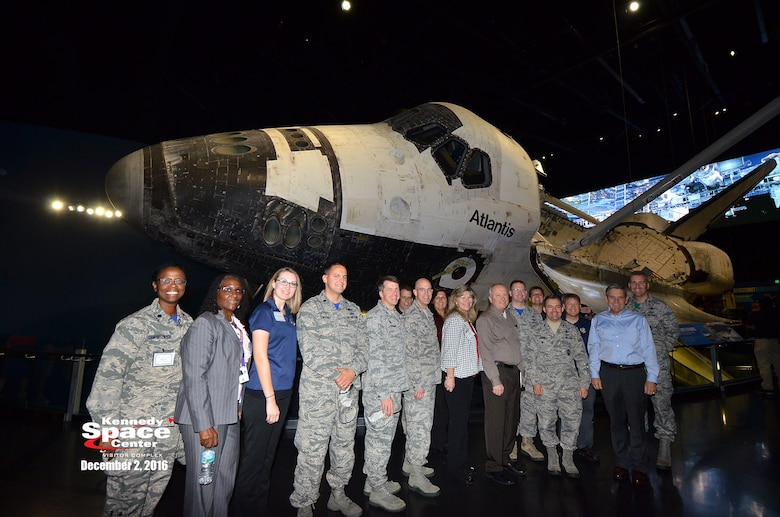 Members of the 45th Space Wing met with members of NASA's Kennedy Space Center during an introduction and networking event Dec. 2, 2016, at the Astronaut Memorial in the Kennedy Space Center Visitor's Complex, Fla. During the visit, members of the 45th Space Wing met with Robert Cabana, director of NASA's KSC, where they discussed 45th Space Wing updates, met for breakout sessions and toured the Atlantis exhibit.  (Courtesy photo of Kennedy Space Center)