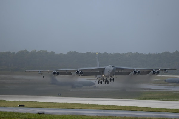 A U.S. Air Force B-52 Stratofortress takes off from Andersen Air Force Base, Guam, after a short deployment Dec. 17, 2016. This short-term deployment helped to ensure the bomber crews maintain a high state of readiness and crew proficiency, and provided opportunities to integrate capabilities with regional partners in the Indo-Asia-Pacific region.