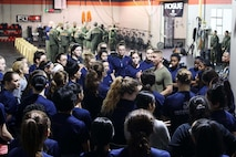 U.S. Marine Corps Maj. Andrew E. Terrell addresses the poolees of Marine Corps Recruiting Station Detroit during the recruiting station's all-hands female pool function on December 10, 2016, in Troy, Michigan. The purpose of the pool function was to help prepare the poolees both physically and mentally for the challenges of recruit training at Marine Corps Recruit Depot Parris Island, South Carolina. Terrell is the commanding officer of RS Detroit. (U.S. Marine Corps photo by Sgt. J. R. Heins/ Released)