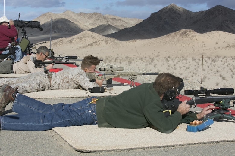High Desert Regional Shooting Match competitors sight-in at Marine Corps Air Ground Combat Center Twentynine Palms, Calif., Dec. 16, 2016. (Official Marine Corps photo by Cpl. Thomas Mudd/Released)