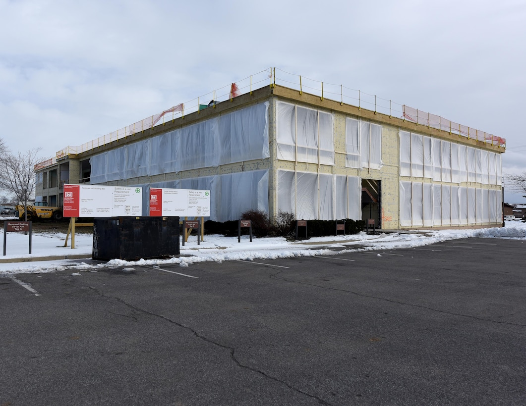 Construction work continues on the 914th Airlift Wing headquarters building at the Niagara Falls Air Reserve Station, N.Y. on December 14, 2016. The 10.9 million dollar U.S. Army Corps of Engineers project is scheduled to be completed this time next year. Everything except the main structure is being removed from the 1950s era building to make way for a new, more efficient open concept facility that is designed for maximum space utilization and energy efficiency. A minor interior renovation was last done in 1995. (U.S. Air Force Photo by Peter Borys)