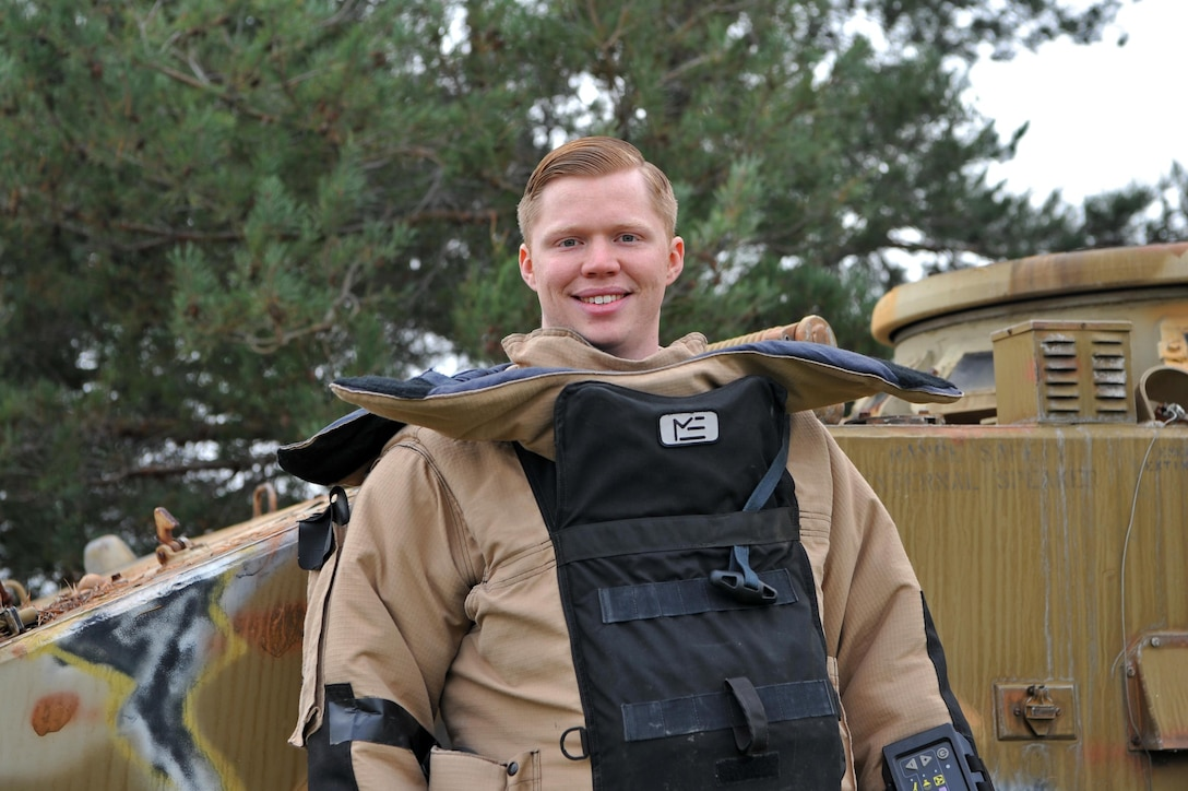 Airman 1st Class Andrew Boyce, 9th Civil Engineer Squadron explosive ordnance disposal technician, poses for a photo Dec. 15, 2016, at Beale Air Force Base, California.(U.S. Air Force photo/Airman Tristan D. Viglianco)