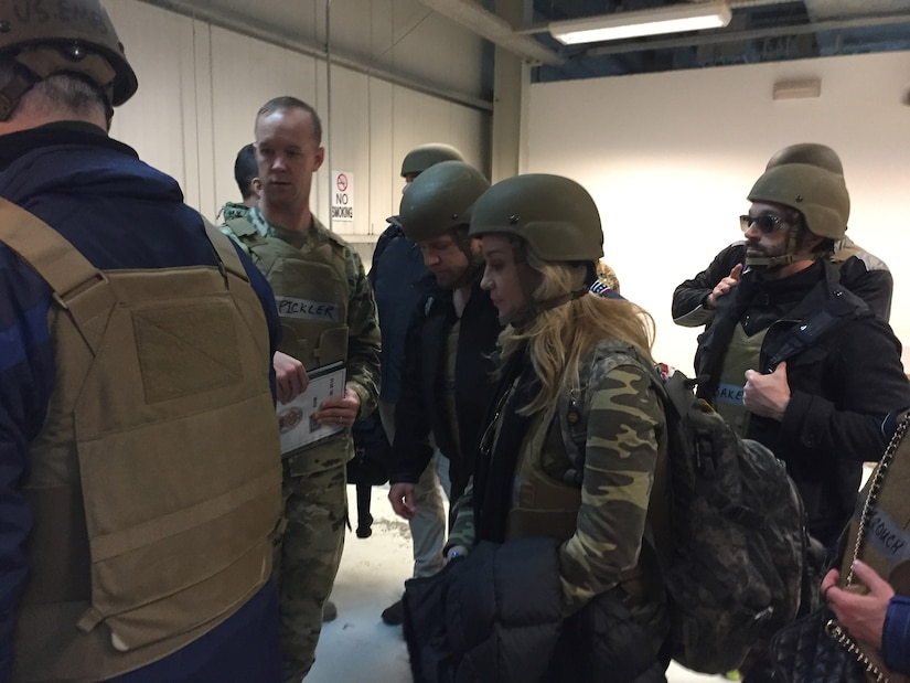 Country singer Kellie Pickler moves out after arriving in Baghdad to begin her 11th USO tour to entertain deployed U.S. service members, Dec. 24, 2016. Led by Chairman of the Joint Chiefs of Staff Marine Corps Gen. Joe Dunford and his senior enlisted advisor, Army Command Sgt. Maj. John Troxell, the troupe also includes Pickler's husband, country music songwriter Kyle Jacobs -- also making his 11th USO trip – as well as chef Robert Irvine and comedian Jeff Ross. DoD photo by Army Sgt. James K. McCann