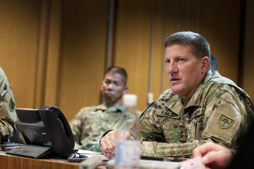 Maj. Gen. Mark Palzer, Commanding General of the 79th Sustainment Command (Support) advises 79th troops as they participate in Exercise Judicious Response '17 in Kaiserslautern, Germany, Dec. 2, 2016. (U.S. Army Photo by Sgt. 1st Class Alexandra Hays, 79th Sustainment Command (Support).