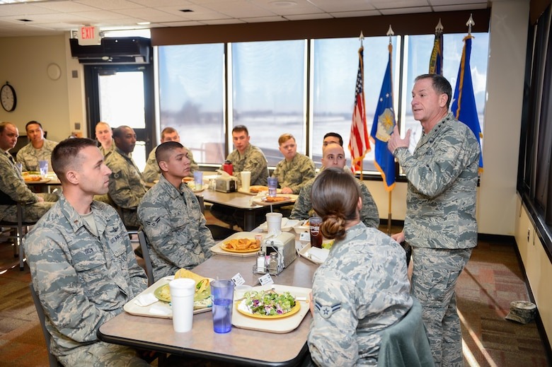 Gen. David L. Goldfein, Chief of Staff of the Air Force, speaks with Schriever Airmen during his visit at Schriever Air Force Base, Colorado, Tuesday, Dec. 20, 2016. Airmen from a multitude of squadrons gathered for discussion with Goldfein. (U.S. Air Force photo/Christopher DeWitt)