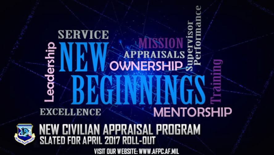 The Air Force will roll out a new civilian appraisal program in April that will link employee duties and performance to the organization's mission and goals. (U.S. Air Force graphic by Staff Sgt. Alexx Pons)