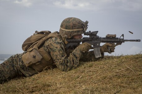 A Marine with Battalion Landing Team, 2nd Battalion, 5th Marines, 31st Marine Expeditionary Unit, conduct live-fire and maneuver drills at Camp Hansen, Okinawa, Japan, Dec. 22, 2016. As the Marine Corps' only continuously forward-deployed unit, the 31st MEU air-ground-logistics team provides a flexible force, ready to perform a wide range of military operations, from limited combat to humanitarian assistance operations, through the Indo-Asia-Pacific region. (U.S. Marine Corps photo by Cpl. Darien J. Bjorndal/Released)