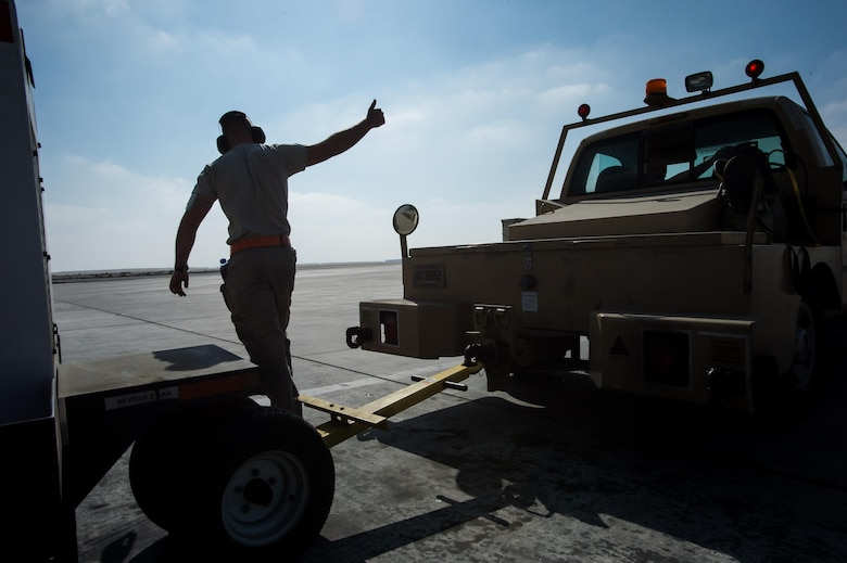 A 380th Air Expeditionary Wing crew chief completes a KC-10 Extender preflight inspection at an undisclosed location in Southwest Asia, Dec. 25, 2016. 380 AEW maintainers have contributed to more than 5,000 strikes during Combined Joint Task Force-Operation Inherent Resolve, a multinational effort to weaken and destroy Islamic State in Iraq and the Levant operations in the Middle East and throughout the region. (U.S. Air Force photo/Senior Airman Tyler Woodward)