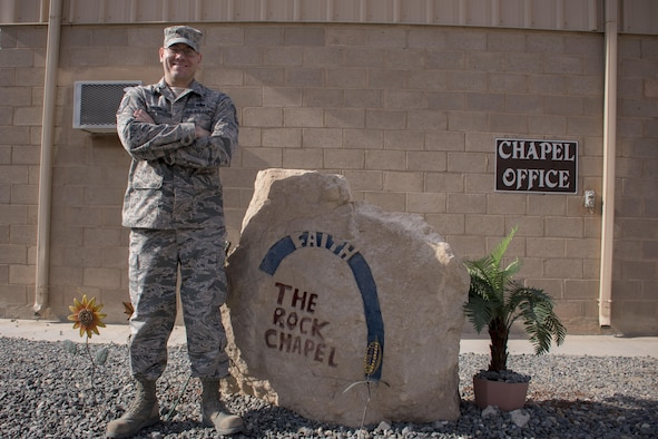 This week's Rock Solid Warrior is Tech. Sgt. Michael Valentin, the 386th chapel NCO in charge, deployed from the 439th Airlift Wing, Westover Air Reserve Base. The Rock Solid Warrior program is a way to recognize and spotlight  the Airmen of the 386th Air Expeditionary Wing for their positive impact and commitment to the mission. (U.S. Air Force photo/Senior Airman Andrew Park)