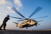 A U.S. Marine CH-53E Super Stallion, assigned to the Ridge Runners of Marine Medium Tiltrotor Squadron 163, takes off from the flight deck of the amphibious assault ship USS Makin Island during a helo-borne raid as part of Exercise Alligator Dagger, in the Gulf of Aden, Dec. 21, 2016. The unilateral exercise provides an opportunity for the Makin Island Amphibious Ready Group and 11th Marine Expeditionary Unit to train in amphibious operations within the U.S. 5th Fleet area of operations. The 11th MEU is currently supporting U.S. 5th Fleet's mission to promote and maintain stability and security in the region.
