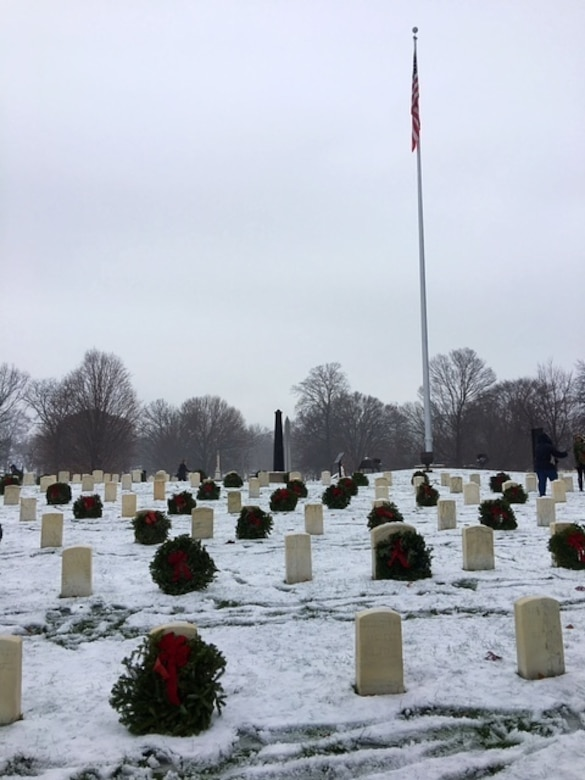 Over 600 wreaths placed in front of Veteran grave stones as part of the Wreaths Across America (WAA) Wreath Laying ceremony at the Crown Hill National Cemetery in Indianapolis, Ind., Dec. 17, 2016. The Wreaths Across America ceremony is held annually on the second or third Saturday in December across the U.S. to honor the fallen.