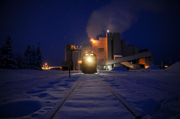 A locomotive from the Central Heat and Power Plant (CHPP) sits outside Dec. 21, 2016, at Eielson Air Force Base, Alaska. The CHPP produces enough energy to power around 9,100-13,000 homes. (U.S. Air Force photo by Airman Isaac Johnson)