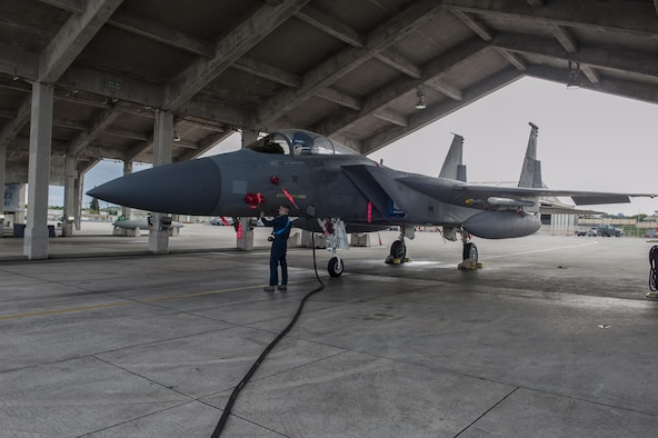 U.S. Air Force Airman 1st Class Brandon Murrell, 18th Equipment Maintenance Squadron crew chief, performs pre-flight checks on an F-15 Eagle Dec. 28, 2016, at Kadena Air Base, Japan. The 18th EMS performs power-checks on F-15 Eagles before routine flying missions. (U.S. Air Force Senior Airman Lynette M. Rolen/Released)