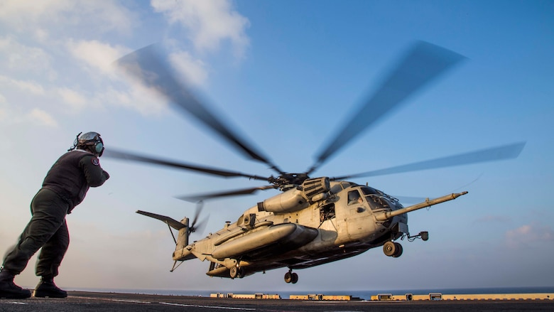 A U.S. Marine CH-53E Super Stallion, assigned to the Ridge Runners of Marine Medium Tiltrotor Squadron 163, takes off from the flight deck of the amphibious assault ship USS Makin Island during a helo-borne raid as part of Exercise Alligator Dagger, in the Gulf of Aden, Dec. 21. 2016. The unilateral exercise provides an opportunity for the Makin Island Amphibious Ready Group and 11th Marine Expeditionary Unit to train in amphibious operations within the U.S. 5th Fleet area of operations. The 11th MEU is currently supporting U.S. 5th Fleet's mission to promote and maintain stability and security in the region.