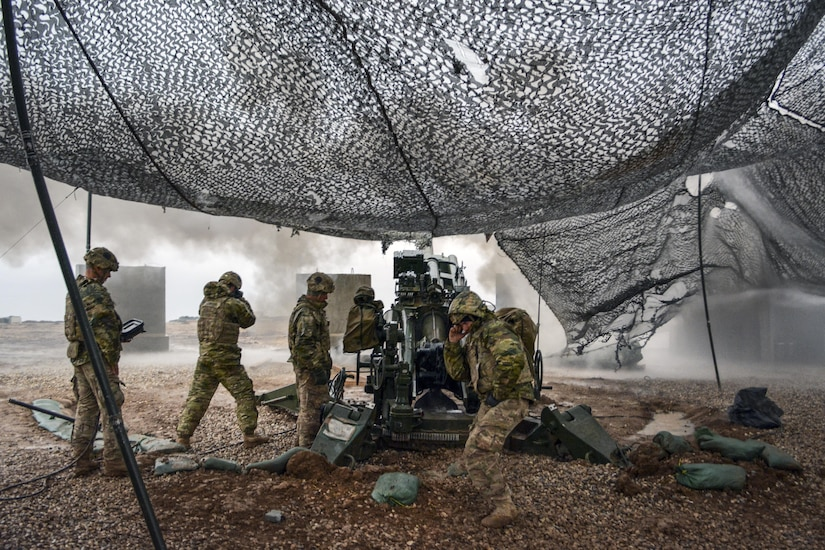 U.S soldiers execute a fire mission to support Iraqi security forces during the Mosul counteroffensive in northern Iraq, Dec. 24, 2016. The soldiers are assigned to Battery C, 1st Battalion, 320th Field Artillery Regiment, Task Force Strike, which is supporting the Iraqi forces with indirect fire in their fight against the Islamic State of Iraq and the Levant. Army photo by 1st Lt. Daniel Johnson
