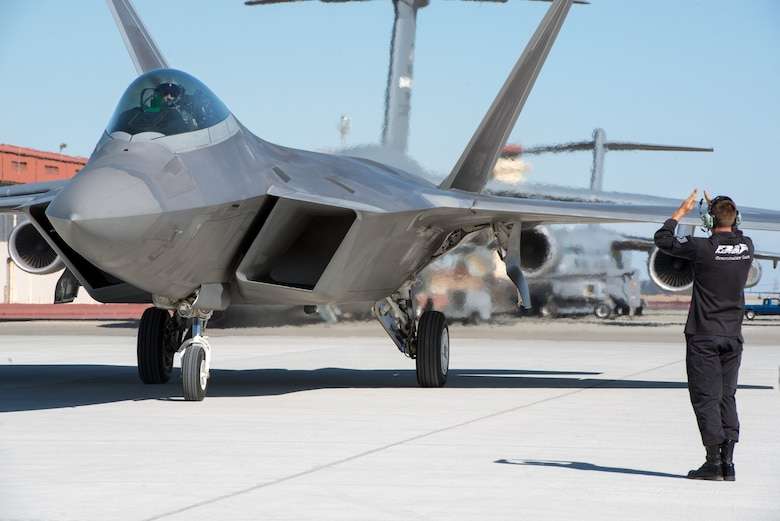 Two F-22 Raptors from Elmendorf Air Force Base, Ala. arrived on Sept. 22, 2016 to Travis Air Force Base, Calif. to perform in the Wings over Wine Country Airshow in Sonoma, Calif.  The  F-22s are part of the Air Combat Command F-22 Demonstration Team from Langley Air Force Base, Va., and will perform precision aerial maneuvers demonstrating the unique capabilities of the fifth-generation fighter aircraft. (U.S. Air Force photo by Louis Briscese)