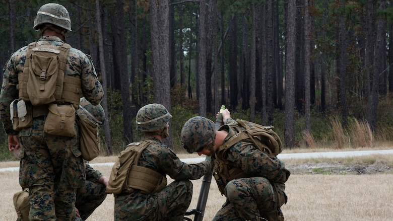 Marines with Company F, 2nd Battalion, 8th Marine Regiment, fire an M224 60mm light-weight mortar system during a field exercise at Marine Corps Base Camp Lejeune, N.C., Jan. 28, 2016. Marines used organic company-level weapon systems during the exercise, reinforcing the fundamentals associated with each.