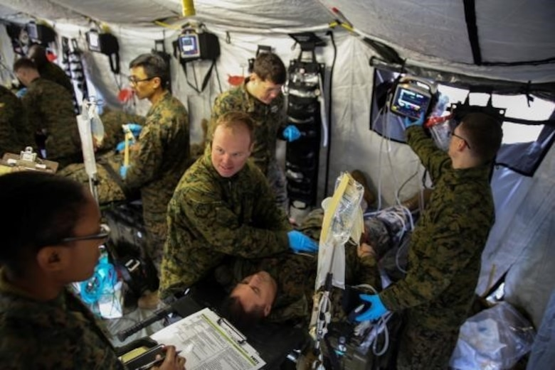 Corpsmen with 2nd Medical Battalion treat notional injuries as part of training exercise in preparation for their upcoming multinational exercise, Cold Response 16.1, in Norway at Camp Lejeune, N.C, Jan. 28, 2016.  The corpsmen were evaluated after every scenario in order to better understand what they did for each patient, and why they did it.  (U.S. Marine Corps photo by Cpl. Michael Dye/Released)